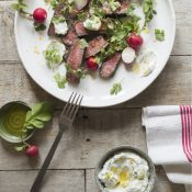 Watermarked barbecued scotch with summer herbs and labneh