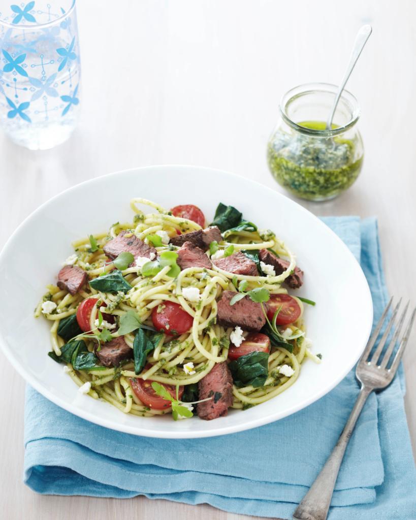 New Zealand Grass-fed Seared Steak with Summer Spaghetti Recipe