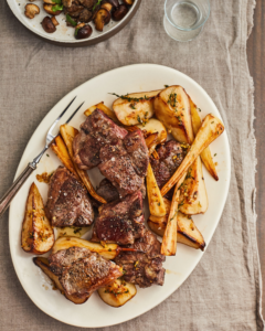 Honeyed New Zealand Grass-Fed Lamb Loin Chops with Pears and Parsnips Recipe