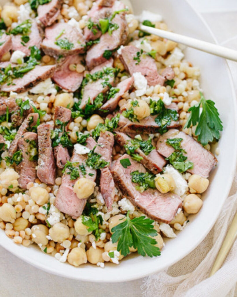 Chimichurri Grass-fed Lamb Medallions with Couscous and Chickpeas Recipe from Family Style Food
