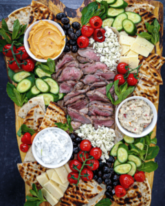 Mediterranean Mezze Platter with Rosemary Garlic Grilled Lamb Recipe from What Should I Make For