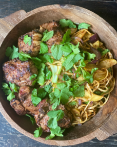 Spiced New Zealand Grass-fed Lamb Loin Chops with Noodles Recipe