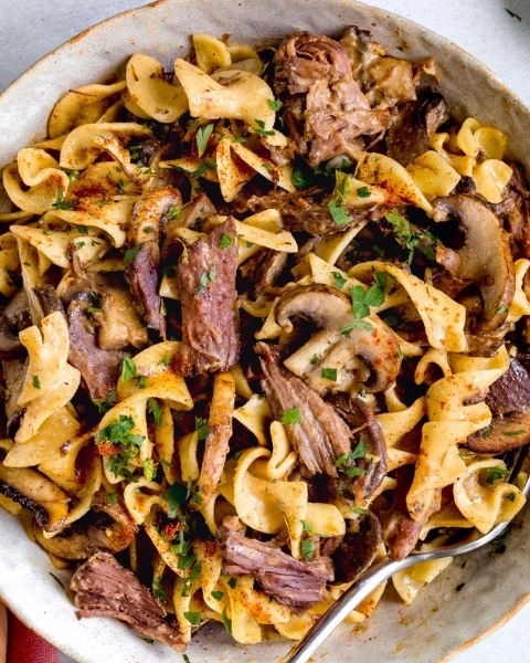New Zealand Grass-fed Beef Short Rib Stroganoff Recipe from feedfeed