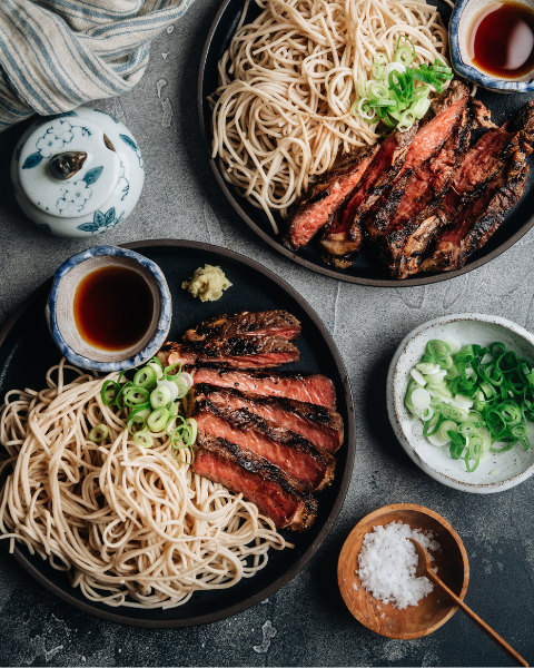 Grilled New Zealand Grass-fed Ribeye with Soba Noodles and Tsuyu Recipe
