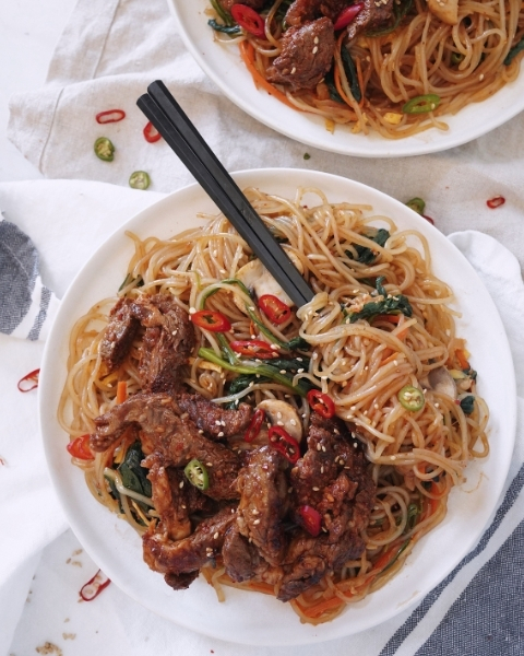 Spicy Korean Style Beef with Glass Noodles Recipe from Hungry Hungry Heejin using New Zealand Grass-fed Beef