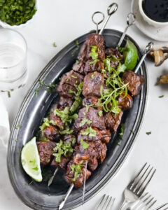 New Zealand Grass-fed Beef Skewers with Garlic Bourbon Sauce Recipe from Peaches 2 Peaches