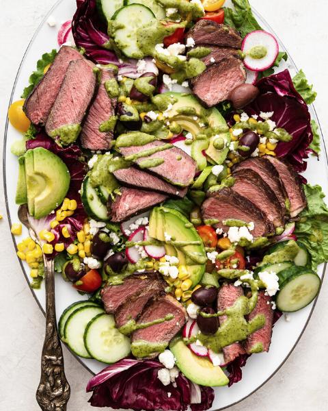 Reverse Sear Strip Steak Seasonal Salad Recipe from feedfeed