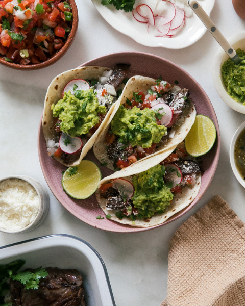 Grass-fed Carne Asada Tacos Recipe from A Cozy Kitchen