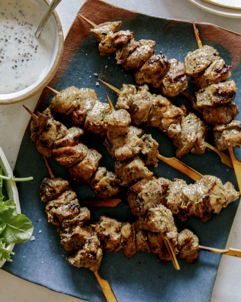 Lamb Kabobs with Mint Yogurt Sauce Recipe from Spoon Fork Bacon using New Zealand Grass-fed Lamb
